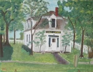 """Public Library,"" a painting by Jane Newhall."