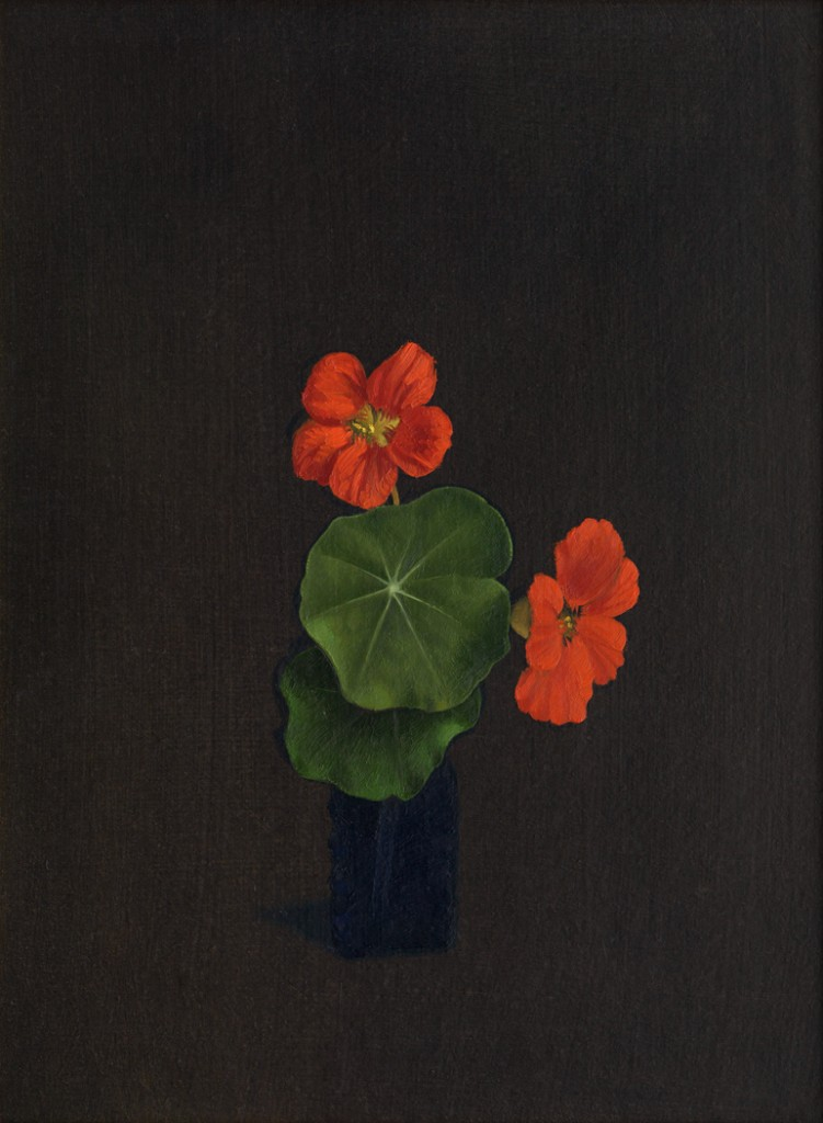 Nasturtiums, 1974. Oil on wood panel 11.5 x 8.5 inches